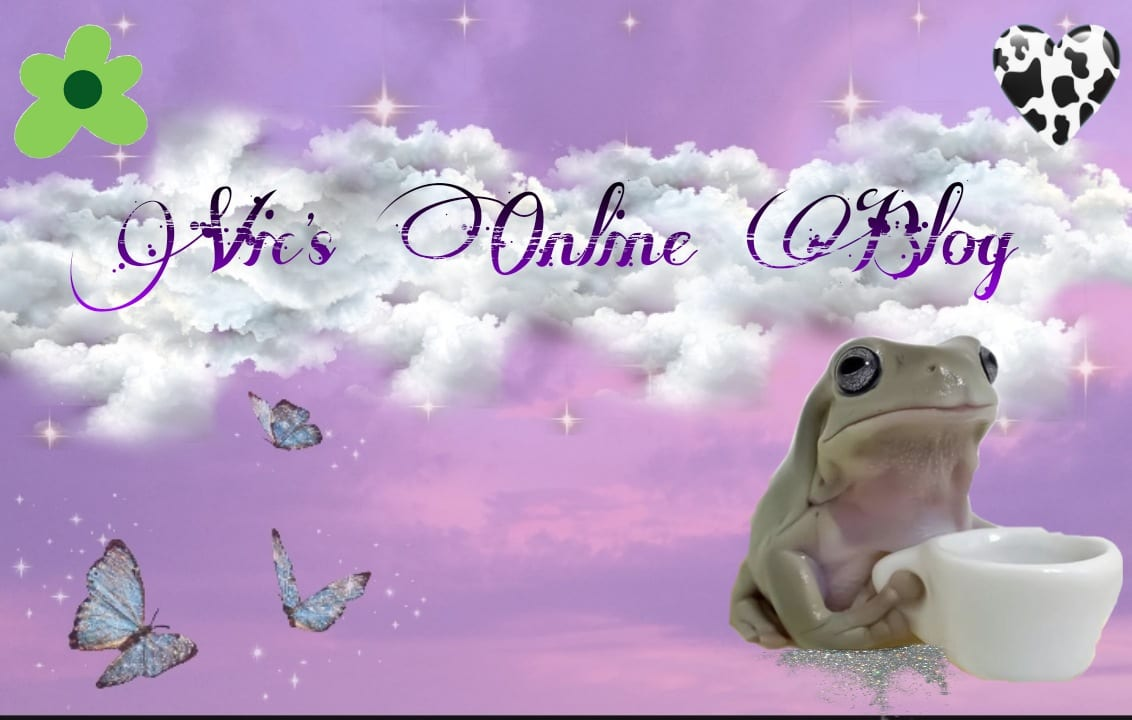 Image for my homepage.  Including a cute frog, some butterflies, a flower, a large cloud and some little stars.  Don't ask me why!!